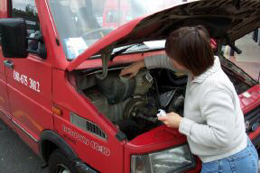 Checking engine of bus